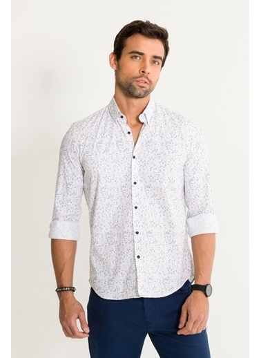 Avva Erkek  Baskılı Alttan Britli Gömlek A01S2295 Beyaz